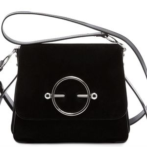 J.W. Anderson Bags - J W ANDERSON BLACK SUEDE AND LEATHER DISC BAG
